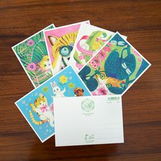 Fun vintage vibes in these animalistic greeting cards by Pauliina Mäkelä for Karto