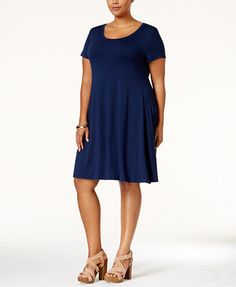 Style & Co Plus Size Short-Sleeve Swing Dress, Only at Macy's | macys.com