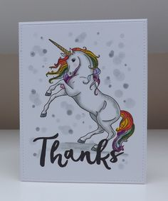 A really simple one layer thank you card using the stunning Unicorn stamp from The Enchantment Collection A4 stamp set free with issue 4...