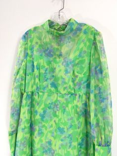 Vintage 1960s neon lime green and blue floral by 86CharlotteStreet