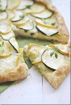 Zucchini, Squash & Ricotta Galette - Eat Yourself Skinny - Healthy Eats - Rezepte Vegetarian Recipes, Cooking Recipes, Healthy Recipes, Healthy Eats, Skinny Recipes, Cooking Tips, Quiche, Zucchini Squash, Zucchini Tart