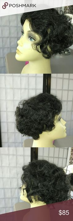 #96~ Curly Black & Grey Wig~ She is stacked, Bobstyle. #TheCurlyLook ~ She is 💯% Human Hair on an InvisiLace cap. This makes the part look natural like your looking a your own scalp. Great body!!! On an adjustable wig cap   Color~ Black with Strands of Grey Accessories Hair Accessories