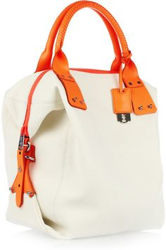 Bone neoprene, neon-orange leather trims (Calf) Two top handles, detachable shoulder strap Designer-stamped silver razorblade-style hanging tag, push studs, push-stud fastening side expanders Internal zip-fastening pocket, internal pouch pocket Fully lined in printed black and white canvas Zip fastening along top Comes with dust bag