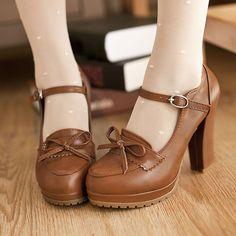Womens Brogue Retro Vintage Bowtie Lita Leather Mary Jane Chunky Heel Pump Shoes #Unbranded #MaryJanes #BridalorWedding