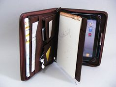 iPad 2 Briefcase for Apple iPad 3 Portfolio Case with iPhone 5 Pocket with inside Writepad Loose-leaf for Letter Size Notebook by leathercase on Etsy
