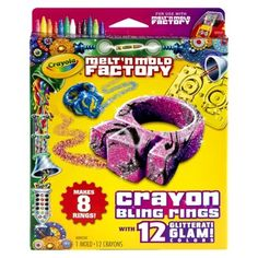 Crayola Melt 'N Mold Crayon Bling Rings Expansion Pack (071662170639) Express your creativity with the crayola melt 'n mold expansion pack. Designed for use with the melt 'n mold factory (sold separately), this expansion pack features a barbie theme. It includes 12 go for the glam crayons and a barbie pendant mold, so kids can create and customize their own wearable barbie heart-shaped pendant. The barbie melt 'n mold expansion pack also includes a necklace string and breakaway clasp. . â…