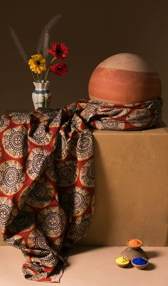 Explore Fabriclore's Range of Kalamkari Cotton fabrics done in hand block designs of Buddha faces, florals, elephants & more. Textile Design, Fabric Design, Kalamkari Fabric, Winter Fire, Girls Dresses Sewing, Portrait Background, Fabric Photography, Photoshoot Concept, Fashion Illustration Dresses