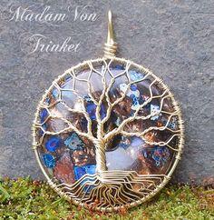 Midnight Blue Impression Jasper and Bronzite Donut Double Sided Tree of Life by MadamVonTrinkets $40 http://www.etsy.com/shop/MadamVonTrinkets #wire #wrapped #jewelry #tree #donut