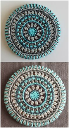 We are sharing here free crochet mandala patterns that differ from each other in style, geometric patterns and in color schemes!I have presented a big list of 30 interesting free crochet mandala patterns for your inspiration. All of these free croche Motif Mandala Crochet, Art Au Crochet, Mandala Yarn, Crochet Motifs, Crochet Squares, Crochet Stitches, Free Crochet, Crochet Afghans, Crochet Blankets