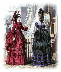 Victorian Women, Victorian Fashion, Vintage Fashion, Victorian Design, Victorian Era, Vintage Mode, Vintage Ladies, 1870s Fashion, Vintage Outfits