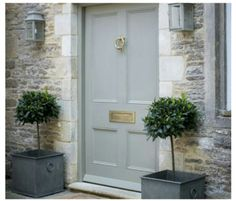Door color, potted trees