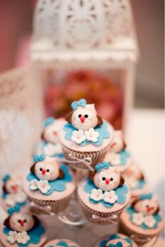 Owl themed cupcakes at an owl birthday party via Kara's Party Ideas. #owl #cupcakes #party #ideas