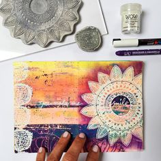 Today in one of my Gelli Printed art journals. Using my 'Flower Garden' stamp…