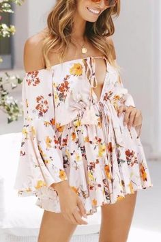 15a2a1b8ad Description Product Name Sexy Floral Deep V Collar Off Shoulder Flare Long  Sleeve Top Ruffled Pants