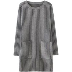 Pink Queen Gray Womens Striped Thick Pockets Long Sleeve Sweater Dress (39 CHF) ❤ liked on Polyvore featuring dresses, grey, gray long sleeve dress, long sleeve striped dress, stripe sweater dress, long sleeve sweater dress and long sleeve dresses