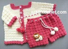 Free baby crochet pattern for cardigan & short pants. http://www.justcrochet.com/cardigan-pants-usa.html #justcrochet