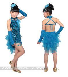 Aliexpress.com: Comprar vestido de la danza de las lentejuelas latino para chicas bailando vestidos de baile de salón de baile vestidos de falda larga Salsa bordea DS086 vestido corto proveedores confiables URA Co., Ltd (7)