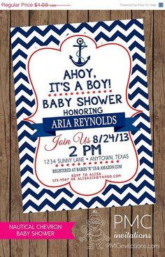 Custom Printed Navy Blue And Red Chevron Nautical Baby Shower Invitations