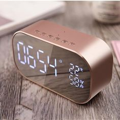 Digital LED Mirror Set Alarm Clock with FM Radio and Wireless Bluetooth Portable digital LED mirror alarm clock with backlight, outdoor bluetooth speaker. built-in bluetooth wireless transmission Rose Gold Room Decor, Rose Gold Rooms, Gold Bedroom Decor, Design Bedroom, Wall Design, Led Mirror, Mirror Set, Set Alarm Clock, Unique Alarm Clocks