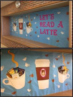 Let's Read A Latte! We love this creative bulletin board created by @connlibrary