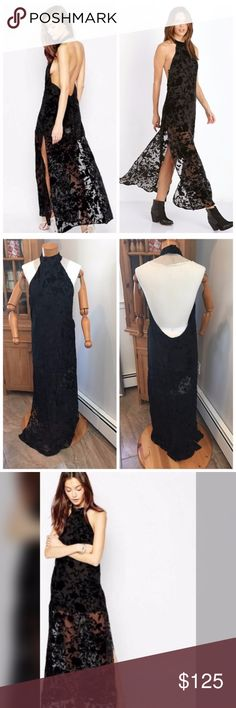 NWOT Flynne Skye Free People Maxi dress velvet Brand new without tags! Made for Free People. Beach meets downtown statement dress with a long flowy maxi silhouette. Sleeveless with a halter top and open back finish. Size 3 is equivalent to a Large or US 8-10. Free People Dresses Maxi