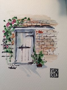 Door+Watercolor+Card+by+gardenblooms+on+Etsy,+$4.00