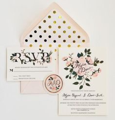 Custom Hand Painted Wedding Invitation Suite/Set Of 25 Gold And Blush Floral And Polka Dots