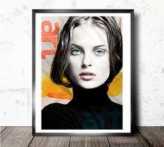 She - Collage, Giclee, fashion, Vlada Saulchenkova, watercolor, woman, interior design, illustration, print, home decor, poster, elegant-