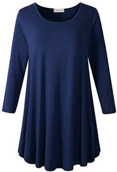 d887e0b1483 LARACE Women 3 4 Sleeve Tunic Top Loose Fit Flare T-Shirt Tunic Tops