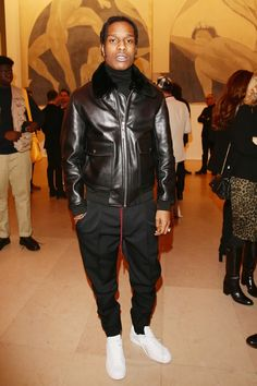 ASAP Rocky wearing  Dior FW16/17 Drawstring Detail Trouser, Adidas adidas Originals Stan Smith Primeknit Trainers AF4451, Dior FW 16/17 Leather Aviator Jacket