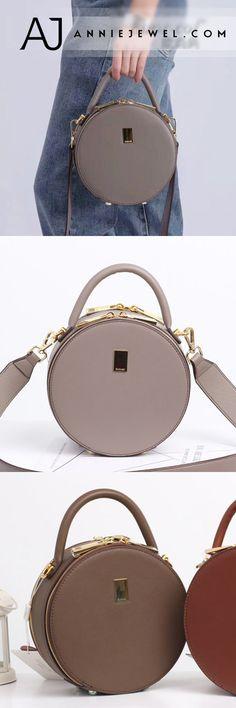 ccaff494b3 Unique Leather Circle Bag Orange Circle Purse Crossbody Handbag ...