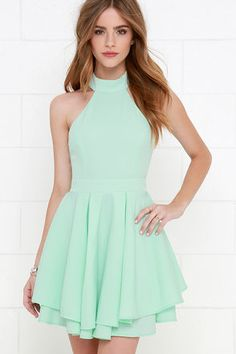 When the spotlight falls on you, you'll be grateful to be donning a number as cute as the Dress Rehearsal Mint Green Skater Dress! Back cutout meets a full skater skirt. Grad Dresses Short, Hoco Dresses, Dresses For Teens, Trendy Dresses, Homecoming Dresses, Dress Outfits, Skater Dresses, Dresses Online, Shift Dresses