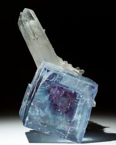 Fluorite with blue Cerussite crystals and Calcite | #Geology #GeologyPage #Mineral Locality: Okorusu Mine Namibia Geology Page www.geologypage.com
