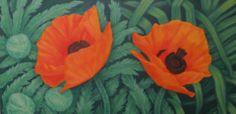 Oriental Poppies, oil on panel