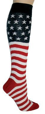 Whether you call it Ol' Glory, The Stars and Stripes , or the Grand Old Flag, we can't get enough of the The Red, White, and Blue. Here we did it on a great knee sock. Show off your patriotism. Everyo