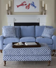 Coastal Living Room | Maine Cottage. Cute couch & ottoman, great for a small cabin by the sea!