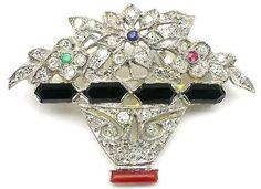 Art Deco Diamond, Onyx & Coral Platinum and Yellow Gold Pin