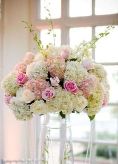 Love Hydrangas/ Like this arrangement, would fill vase with pink and white 14mm pearl beads