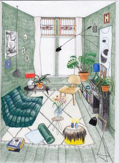 Illustration of the home of Theo-Bert Pot, The Nice Stuff Collector. Collaboration with Yara Francken