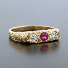 Victorian 14kt Etched Gold Diamond & Ruby Ring, circa 1880