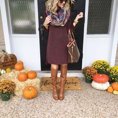"""I may have gone a little overboard decorating the porch! But I love it. And my obsession with sweater dresses continues. This one is  details …"""
