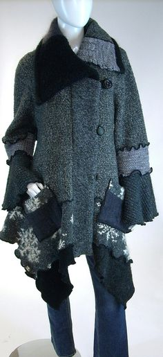 Stylish Upcycle.  Sweater Coat Grey and Black Tweed Snowflake by Brendaabdullah, $395.00