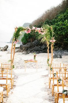 Wedding at Karma Kandra Ungasan  - tropical beach wedding aisle and chuppah