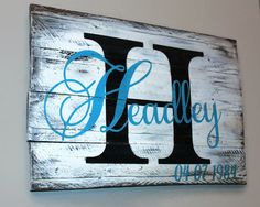 Last name initial, last name and anniversary date personalized on reclaimed rustic pallet wood by Gratefulheartdesign on Etsy
