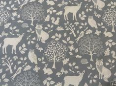 Winter Woodland Animals Fox Stag Owl Pelt Grey Cotton Curtain/Craft Fabric in Crafts, Fabric Stag Wallpaper, Animal Wallpaper, Kids Wallpaper, Cotton Curtains, Grey Curtains, Cotton Fabric, Modern Floral Wallpaper, Beautiful Wallpaper, Wall Stencil Patterns