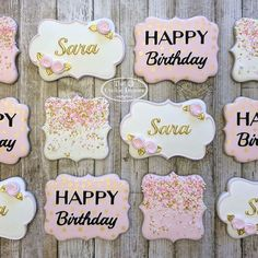 Home - The Colorful Cookie How GORGEOUS is this set of cookies by Dorothy used a confetti stencil for the background on the Happy Birthday cookies. Love the colors and the designs! Happy Birthday Cookie, 16 Birthday Cake, Cute Birthday Gift, Sweet 16 Birthday, Birthday Cookies, 16th Birthday, Geek Birthday, Iced Cookies, Cake Cookies