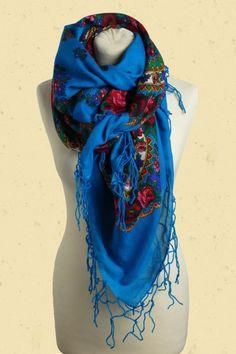 folklore sjaal in petrol blauw met rode en roze rozen | Talulabelle