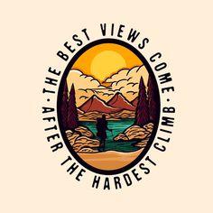 Mountain Logos, Mountain Designs, Hiking Logo, Logo Online, Sunset Logo, Camp Logo, Outdoor Logos, Badge Logo, Decoupage Vintage