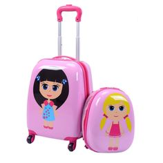 """Kids Girls Luggage Set Suitcase Backpack School Travel Trolley ABS 2Pc 12"""" 16"""""""