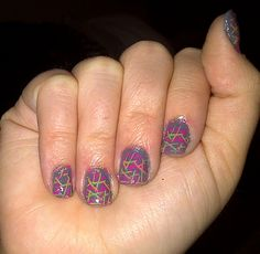 Cool Nail Design with random lines